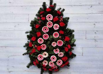 coroana funerara lacrima cu garoafe rosii si gerbera roz